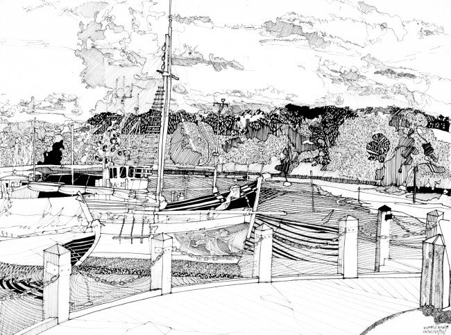 Woodbridge Harbour; Low Tide, High Contrast, Lightfast pen on paper, James Hutchinson