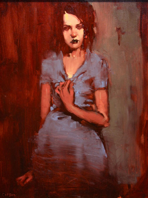 Blue Dahlia, oil on canvas by Michael Carson
