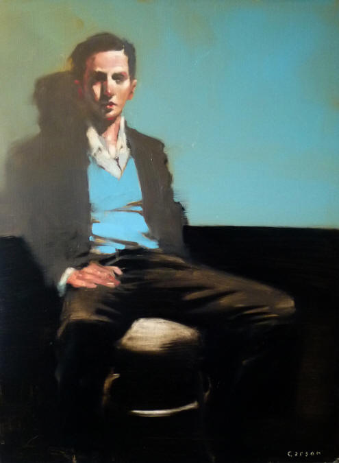 Blue Sweater, oil on canvas by Michael Carson