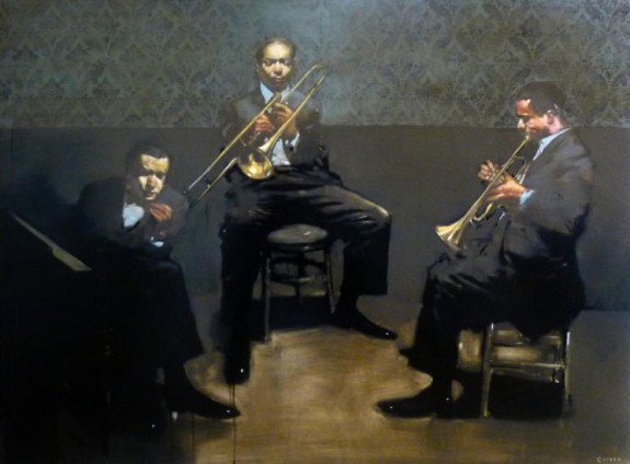 Lounge Band Set Break, oil on canvas by Michael Carson