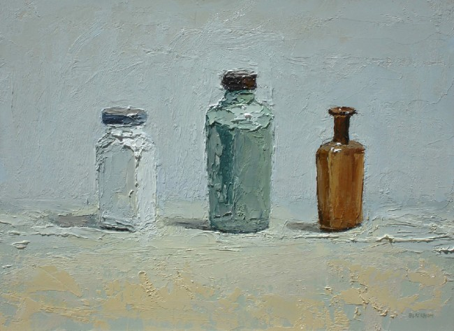 Green Glass, Jar, oil on panel by Brian Blackham