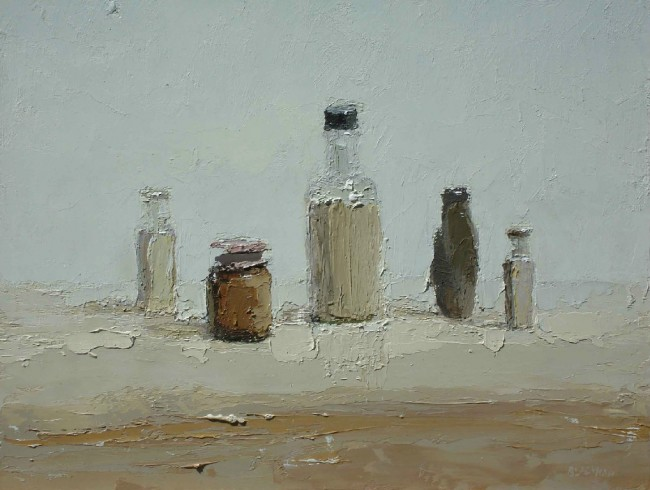 Still Life Table, oil on panel by Brian Blackham