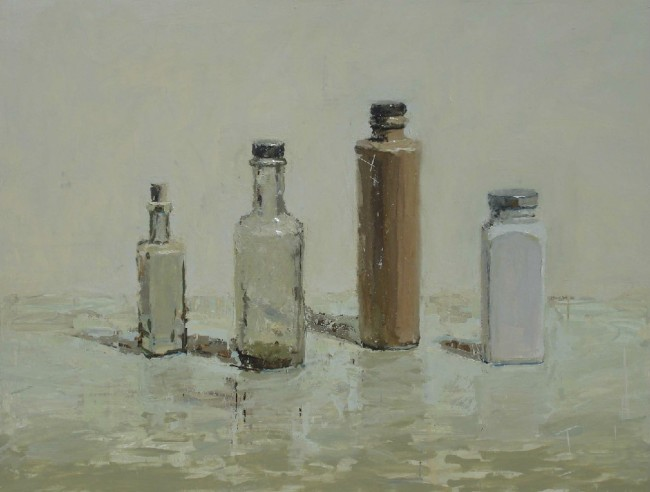 Two Square Jars, oil on panel by Brian Blackham