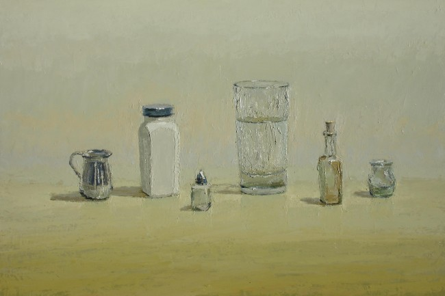 Water, Glass, Table, oil on panel by Brian Blackham