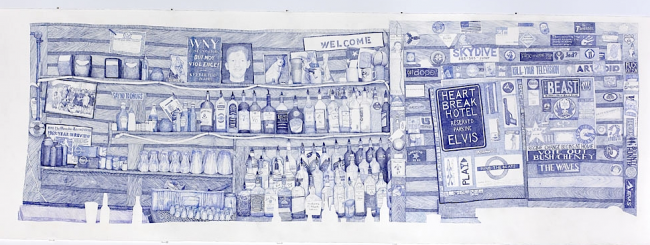 Back Bar, 2007, ink on paper, by Joan Linder
