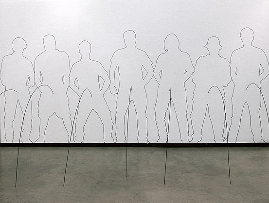 Competition, 2009 Installation, Drawing Marker and Wire, by Sakir Gokcebag