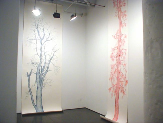 Ink on paper, Installation at White Columns NY, by Joan Linder