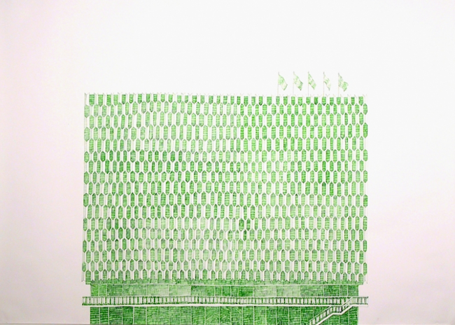 Kaufhof, 2000, ballpoint on paper, by Joan Linder