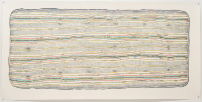 Mattress, 2010, color pencil on paper, by Joan Linder