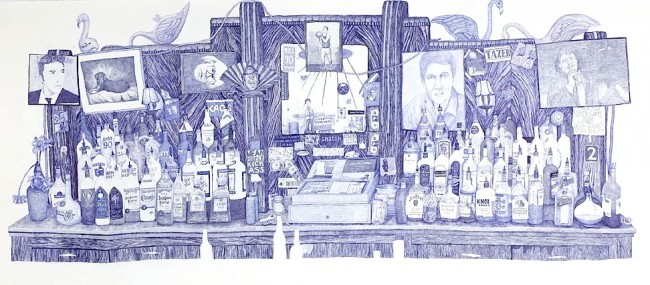 The Bar, 2007, ink on paper, by Joan Linder