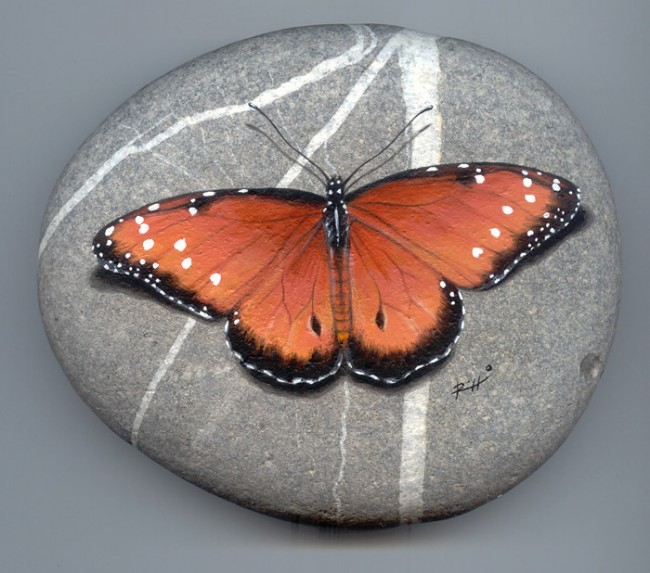 Butterfly, paint on stone by Roberto Rizzo