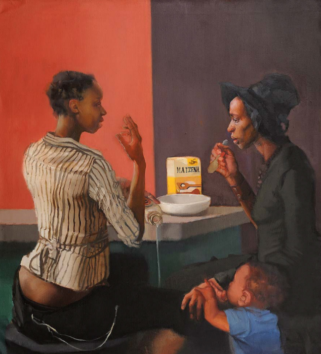 Cafe Series - Mothers Milk, oil on canvas by Sylvia Maier