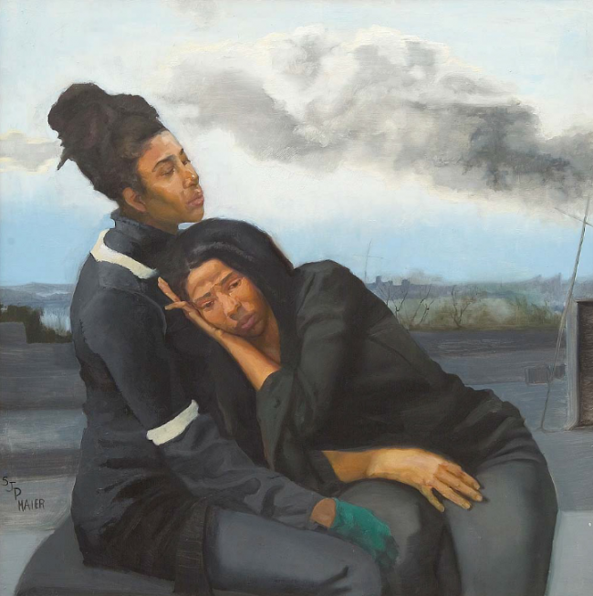 Mourning Twins, oil on wood by Sylvia Maier