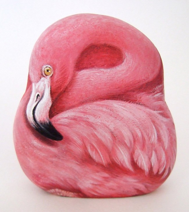 Pink flamingo, paint on stone by Roberto Rizzo