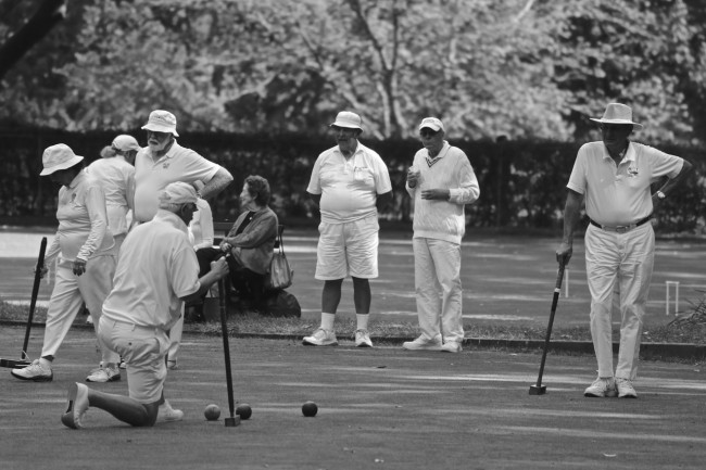 Croquet on the bowling greens in Central Park, New York City, photograph by Ric Camacho