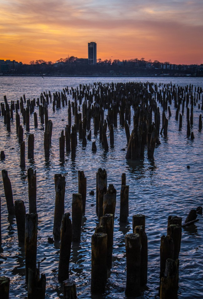 Hudson Sunset, near Chelsea Piers, New York City, photograph by Ric Camacho