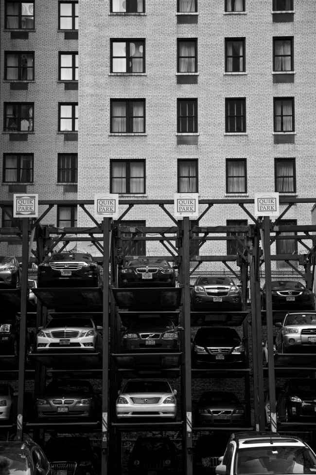 Manhattan Elevated Parking, Theater District, New York City, photograph by Ric Camacho
