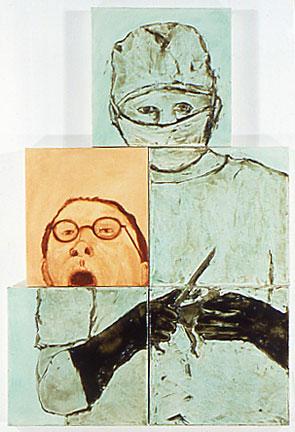 Ida_Applebroog_K-Mart Village I, 1987 oil on canvas